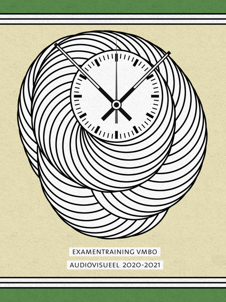 Cover illustration for Examentraining VMBO Kunstvakken that I wrote and designed, which focuses on creating a time loop using Audiovisual techniques.