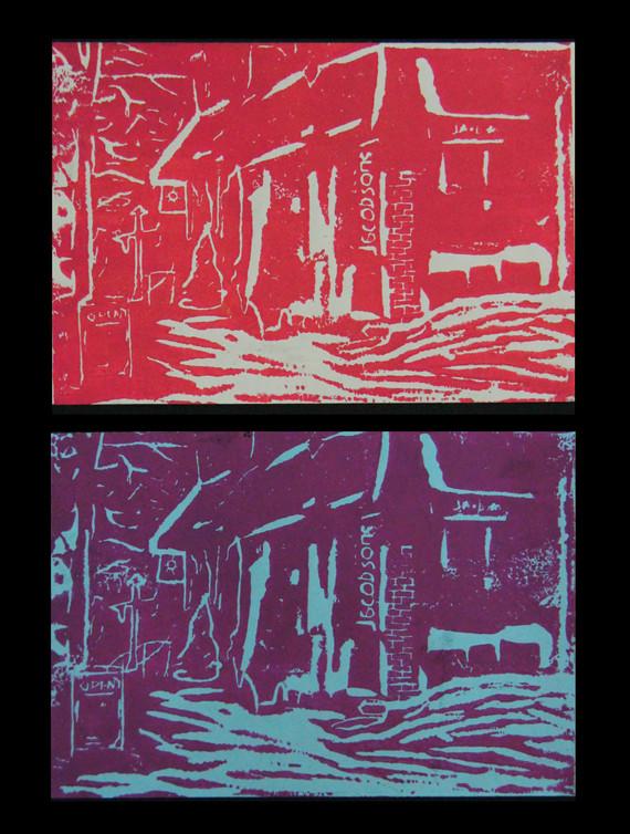 That store around the corner (Printmaking on Linoleum Block)