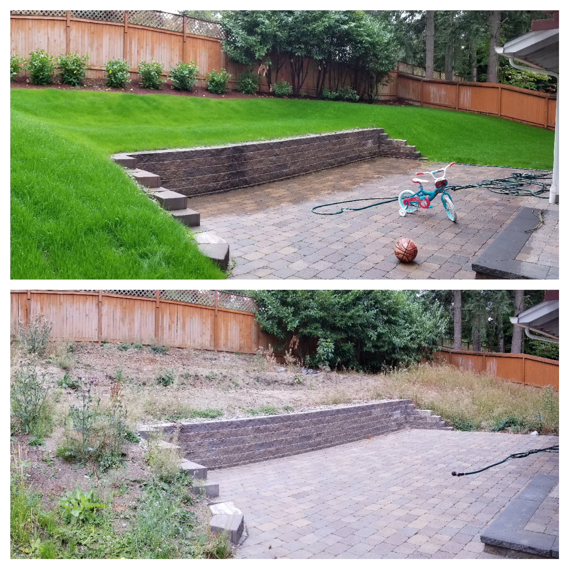 Evened out the slope and added grass
