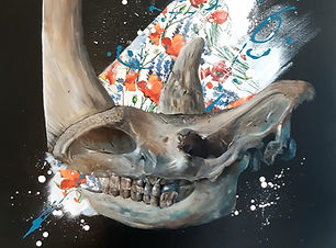 painting skull animal rhino flowers
