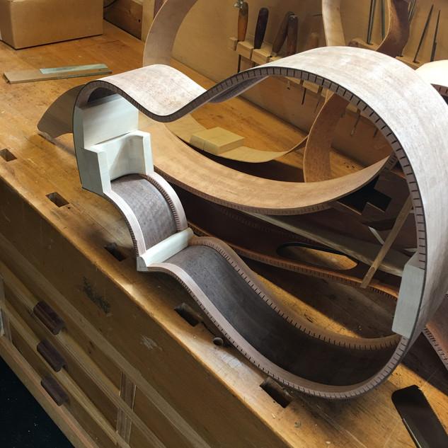Twin neck blocks on nylon strung harp guitar