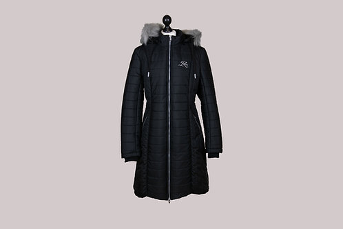 Mantel mit Kapuze + Kunstfell XL