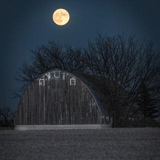 Full Moon Over Barn
