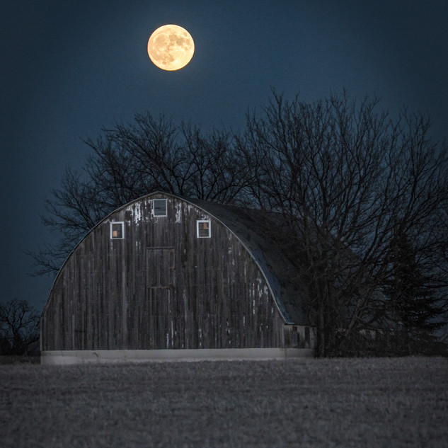 Full Moon Over Barn