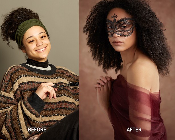 Before and After Glamour Portrait Makeover