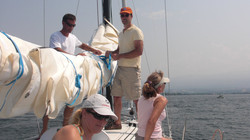 Enjoying sailing with friends
