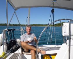 Enjoying meals at sea