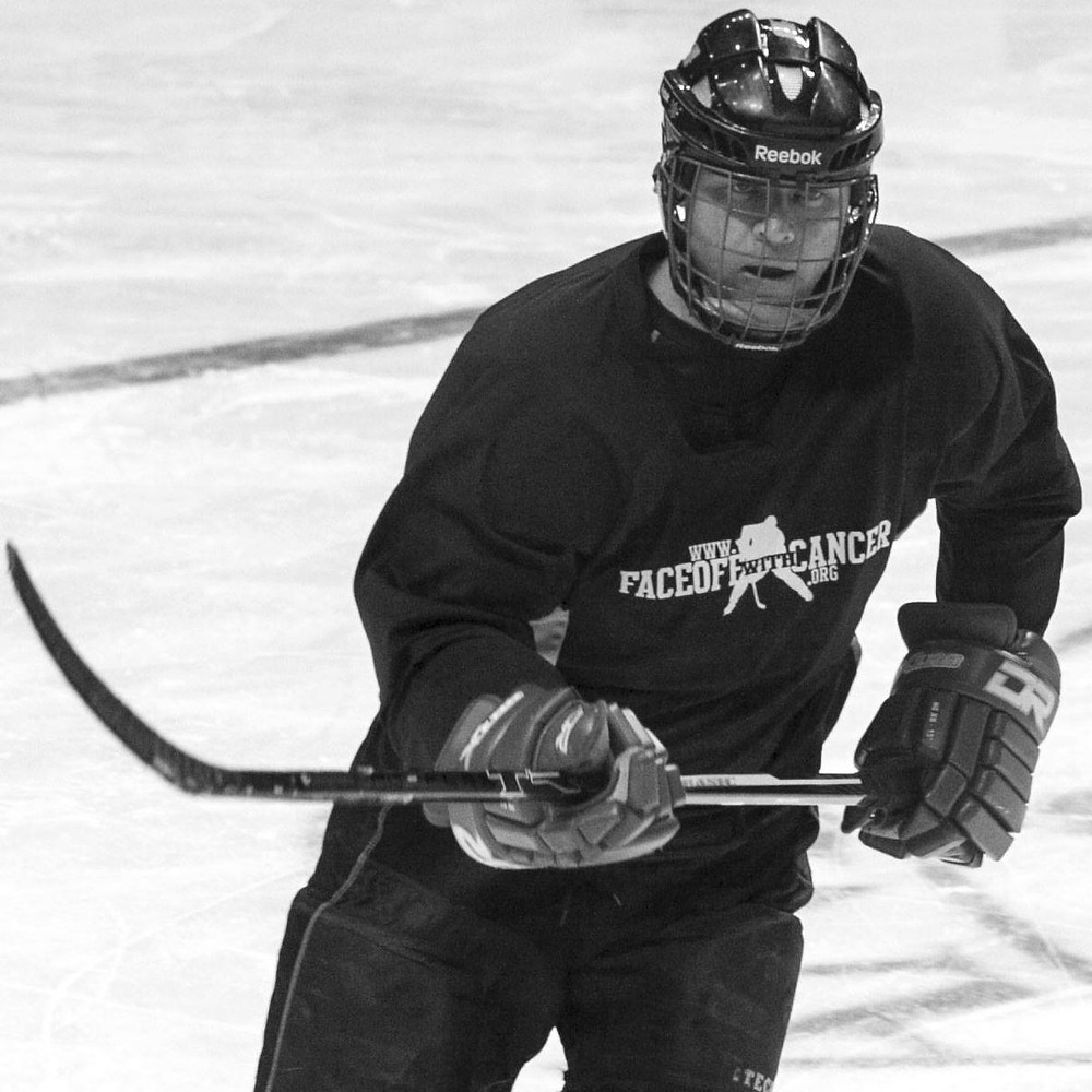 Tim Lang participating in a Face Off With Cancer charity game.