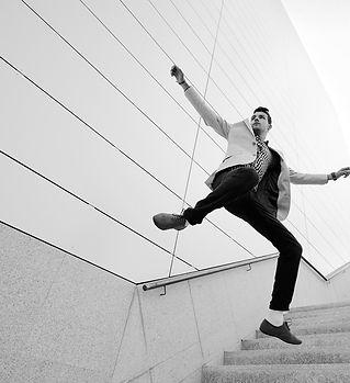 man jumping down stairs - bw.jpg