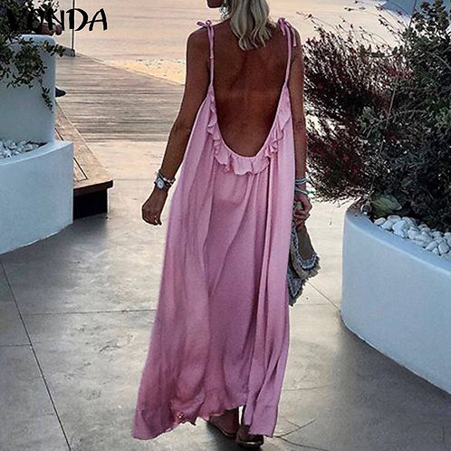 Summer 2021 Bohemian Beach Women Sexy  Backless Dresses,  Plus Size Available