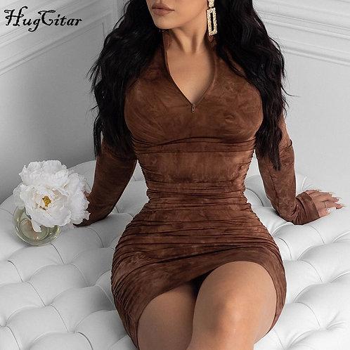 Hugcitar 2020 Long Sleeve Tie Dye Ruched Bodycon Sexy Midi Dress