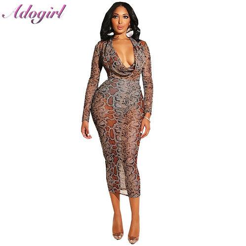 Sexy Women Snake Print Mesh Long Dress