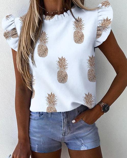 2021 Spring/ Summer Women Pineapple Floral Print Ruffle Blouse