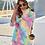 Thumbnail: Fashion Winter Rainbow Color Faux Fur Female Jacket and Sets