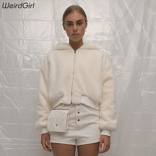 Hooded Zipper Faux Fur Jacket