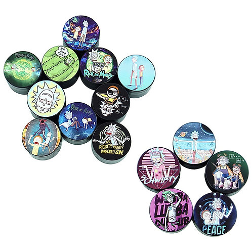 4 Layers Chip Black Animated Characters Style Tobacco Grinder