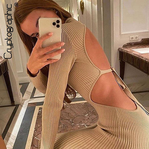 Cryptographic Sexy Backless Ribbed Knitted Midi Dress
