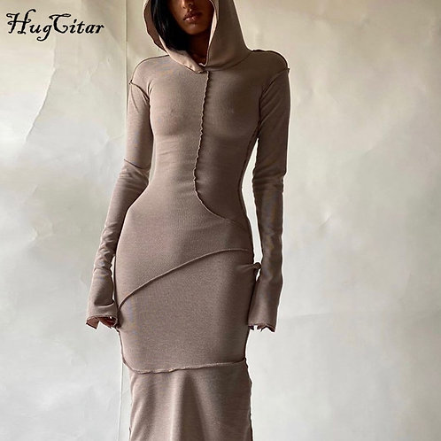 Hugcitar 2020 Long Sleeve Hooded Patchwork Skinny Maxi Dress