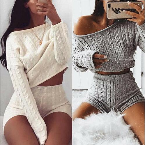 NEW 2021 Knit 2 Piece  Women's Long Sleeve Crop Tops & Short