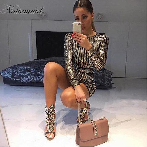 NATTEMAID  Long Sleeve Mini Sequin Dress