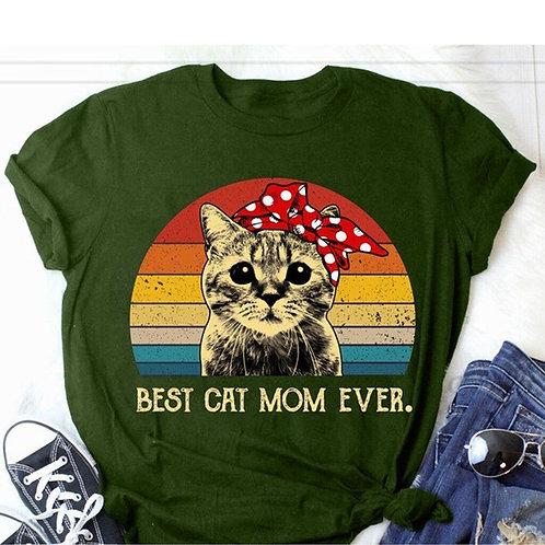 \Round Neck Short Sleeve Cat Animal Letter Print T-Shirt