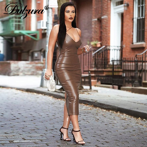 Dulzura Pu Faux Leather Women Slit Midi Dress