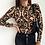Thumbnail: Sexy Black Mesh See Through Polka Dot Print Women Long Sleeve High Neck Top