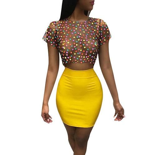 Women Sexy 2 Pieces Dot Print Mesh Skirt Set