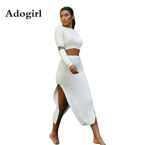 Adogirl Women  2 Pieces Long Sleeve Crop +Double Split Maxi Skirt