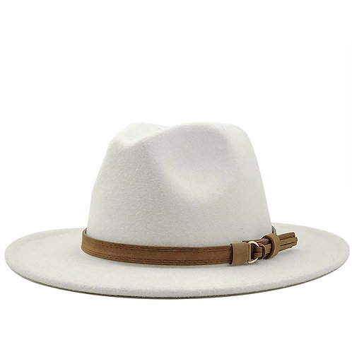 Women Wool Fedora Hat With Leather Ribbon