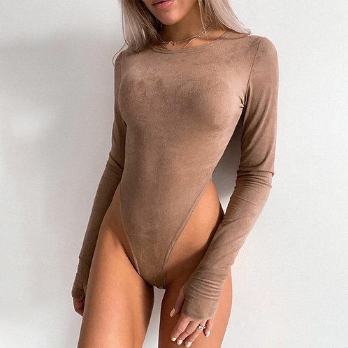 Women Suede Bodysuit