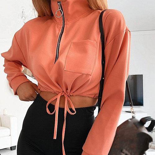 Women's Stand Collar Short Top Sweatshirt