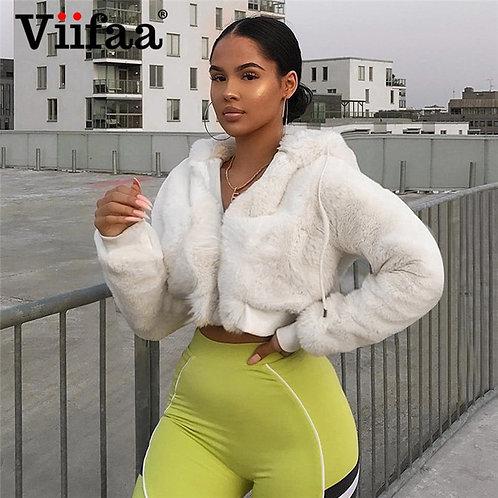 Viifaa Women Winter White Fluffy Hooded Faux Fur Crop Coat