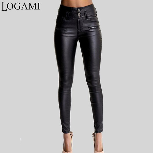 LOGAMI Women High Waist PU Leather Pants