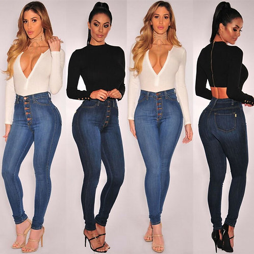 Button Skinny Push Up Slim Pencil Jeans Woman Clothes
