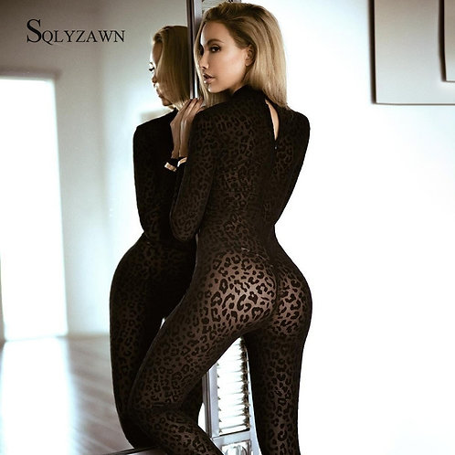 Sexy Leopord Print Transparent Jumpsuit