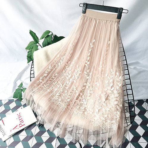 Floral Embroidery A-Line Tutu Lace Mesh Skirt Women Elegant Long Pleated Skirt