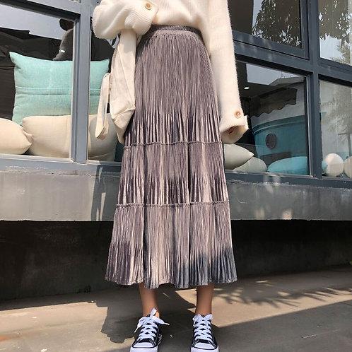 Women Pleuche Autumn Winter Midi Long Skirts