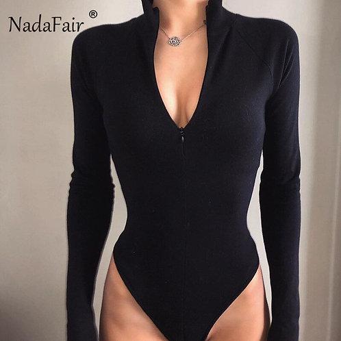 Ladies Nadafair Zipper Long Sleeve Bodysuit