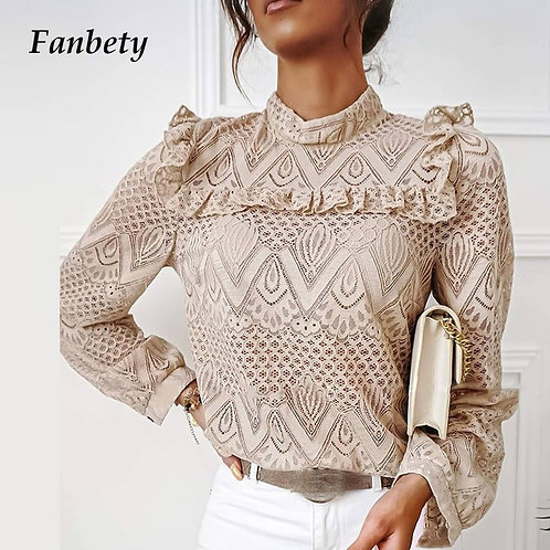 2021 Women Elegant Long Sleeve Lace Ruffles Blouses Shirt