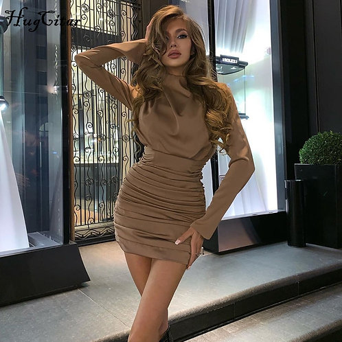 Hugcitar 2020  Ruched Pure Sexy Mini Dress