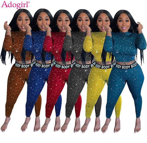 Adogirl Fashion Print Women Two Piece Set Tracksuit