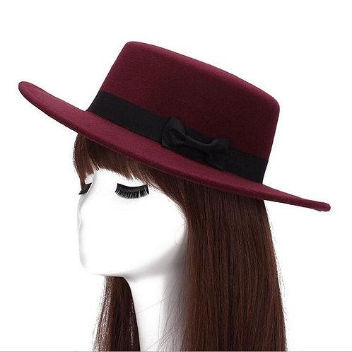 Vintage Women Felt Fedoras Flat Top Jazz Hat