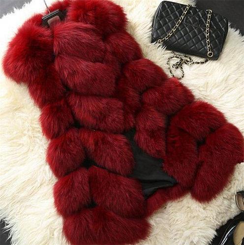 Women Winter Sleeveless Long Faux Fur Vest