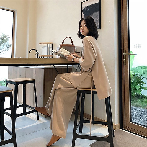 Knitting Female Sweater Pantsuit for Women Two Piece Set
