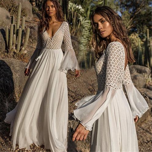 Boho Lace Maxi Dress Holiday Chic Autumn Female Dresses