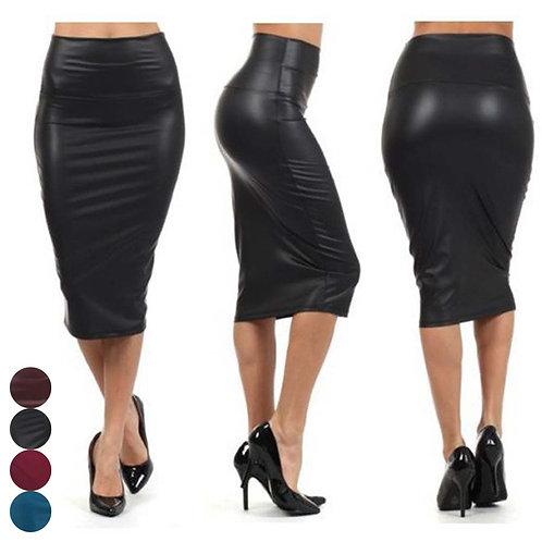 Newly Women High Waist Faux Leather Pencil Skirt