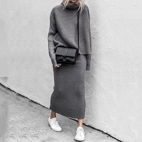 Knitted Two Piece Set Women Pullovers