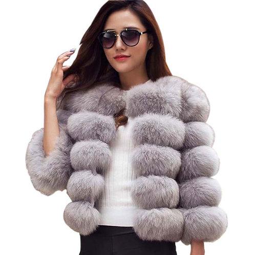 Ladies Fox Faux Fur Coat
