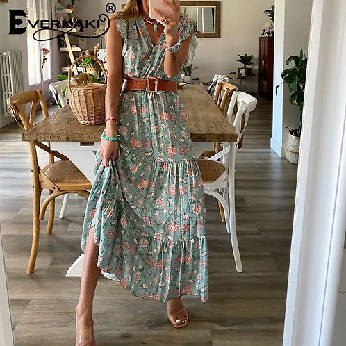 2021 Spring Boho Floral Print Maxi Dress With Belt